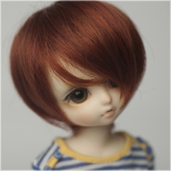 1/6 British short curl wig(Brown red)