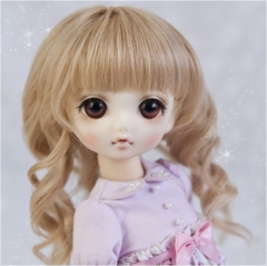 1/6 Linen yellow long curl wig