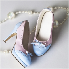 1/3 elegant blue&pink bow high-heel shoes