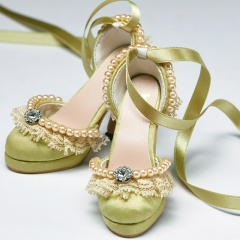 1/3 Green retro princess high heel court